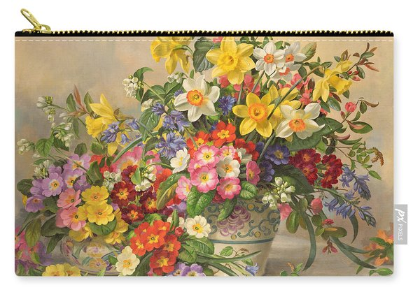 Spring Flowers And Poole Pottery Carry-all Pouch