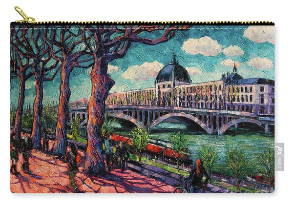 Spring On The Banks Of The Rhone - Lyon France - Modern Impressionist Oil Painting By Mona Edulesco Carry-all Pouch