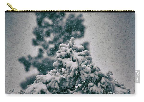 Carry-all Pouch featuring the photograph Spring Snowstorm On The Treetops by Jason Coward