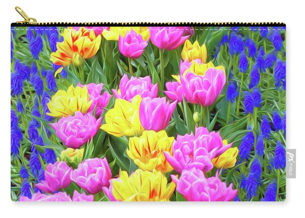 Springtime Tulips 01 Painterly Effecy Carry-all Pouch