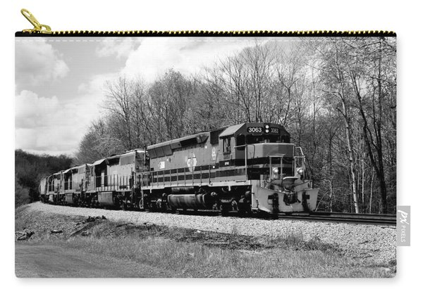 Sprintime Train In Black And White Carry-all Pouch