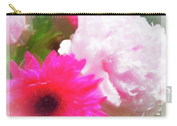 Square Pink Flower Impressions Carry-all Pouch