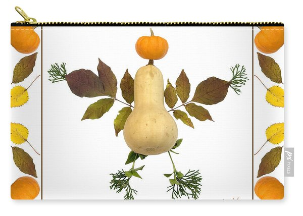 Squash With Pumpkin Head Carry-all Pouch