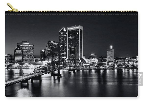 St Johns River Skyline By Night, Jacksonville, Florida In Black And White Carry-all Pouch