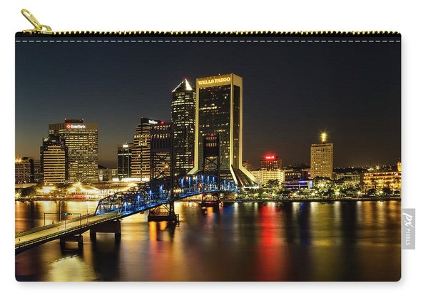 St Johns River Skyline By Night, Jacksonville, Florida Carry-all Pouch