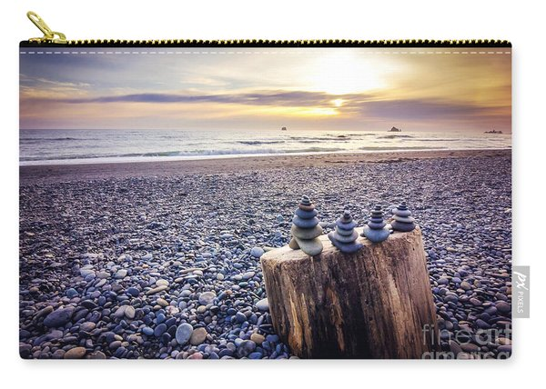 Stacked Rocks At Sunset Carry-all Pouch