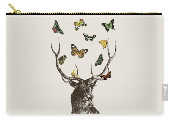 Stag And Butterflies Carry-all Pouch