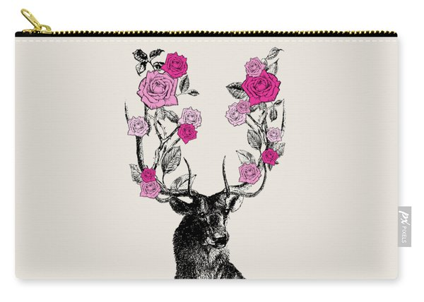Stag And Roses Carry-all Pouch