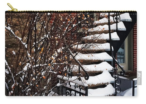Staircase Covered By Snow Carry-all Pouch