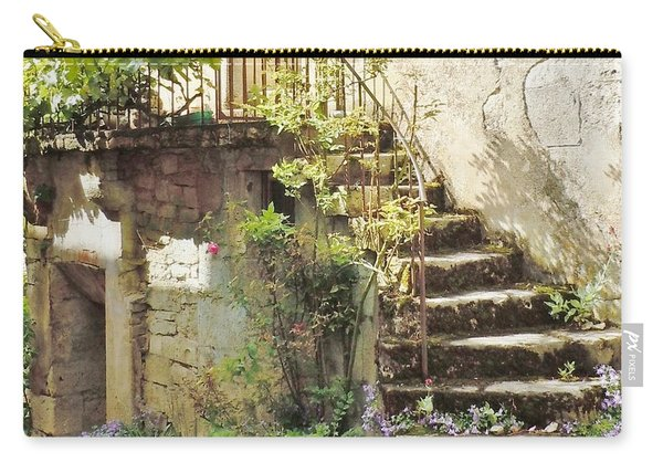 Stairway With Flowers Flavigny France Carry-all Pouch