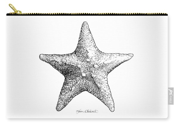 Coastal Starfish Drawing - Black And White Sea Star - Beach Decor - Nautical Art Carry-all Pouch