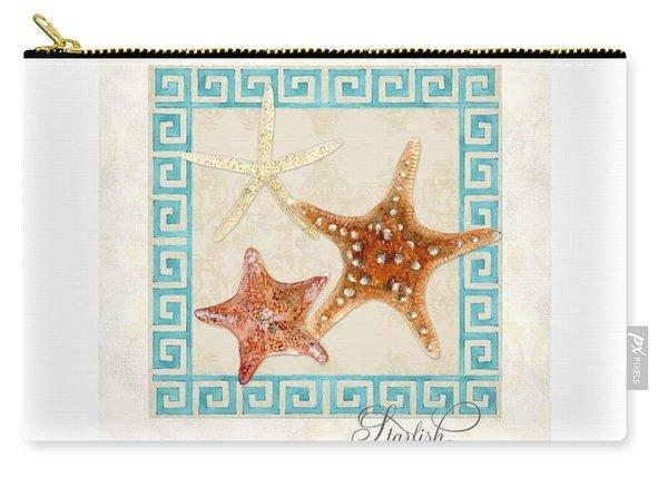 Starfish Greek Key Pattern W Swirls Carry-all Pouch