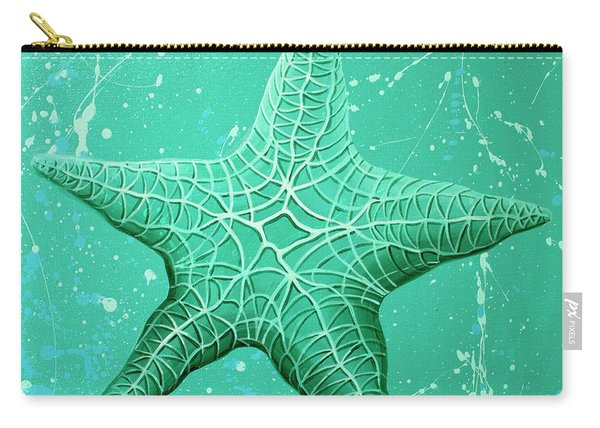 Starfish In Teal Carry-all Pouch