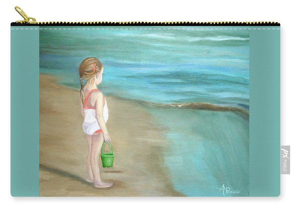 Carry-all Pouch featuring the painting Staring At The Sea by Angeles M Pomata