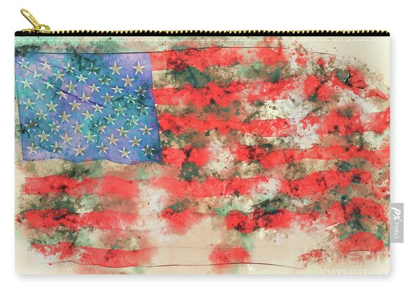 Stars And Stripes Watercolor Carry-all Pouch