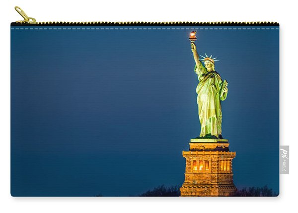 Statue Of Liberty And A Rising Supermoon In New York City Carry-all Pouch