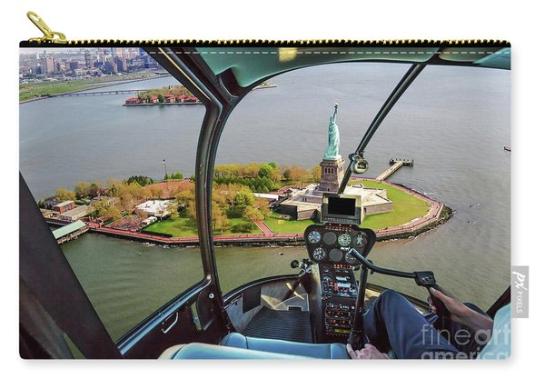 Carry-all Pouch featuring the photograph Statue Of Liberty Helicopter by Benny Marty