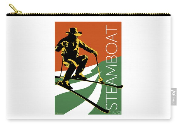 Carry-all Pouch featuring the digital art Steamboat Orange by Sam Brennan