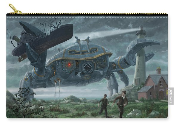 Carry-all Pouch featuring the digital art Steampunk Giant Crab Attacks Lighthouse by Martin Davey