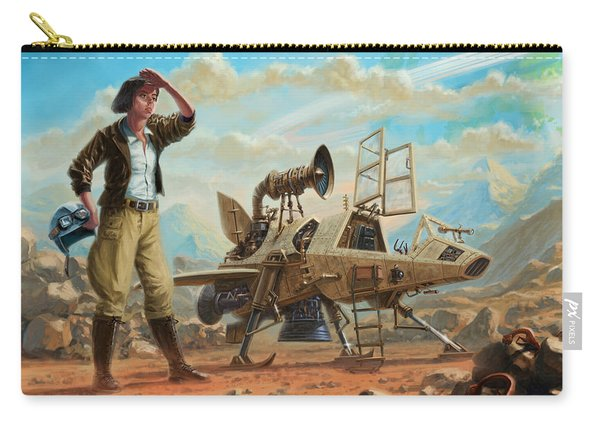 Carry-all Pouch featuring the digital art Steampunk Girl With Spaceship by Martin Davey