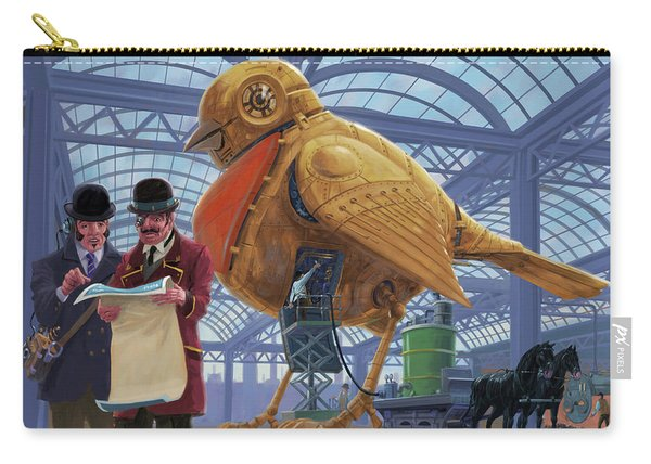 Carry-all Pouch featuring the digital art Steampunk Mechanical Robin Factory by Martin Davey