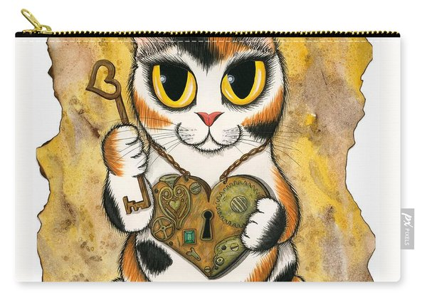 Steampunk Valentine Cat Carry-all Pouch