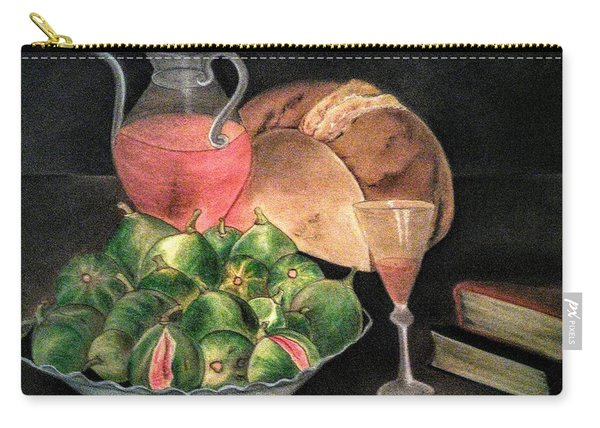 Still Life Of Figs, Wine, Bread And Books Carry-all Pouch