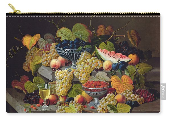 Still Life Of Melon Plums Grapes Cherries Strawberries On Stone Ledge Carry-all Pouch