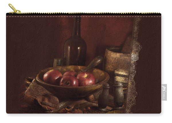 Still Life With Apples, Bottles, Baskets And Shakers. Carry-all Pouch