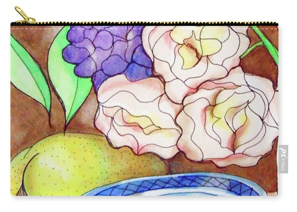Carry-all Pouch featuring the drawing Still Life With Fish by Loretta Nash