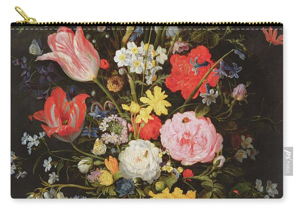 Still Life With Flowers And Strawberries Carry-all Pouch