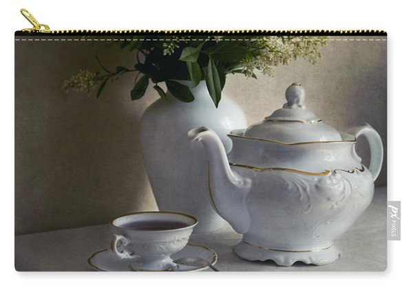 Carry-all Pouch featuring the photograph Still Life With White Tea Set And Bouquet Of White Flowers by Jaroslaw Blaminsky