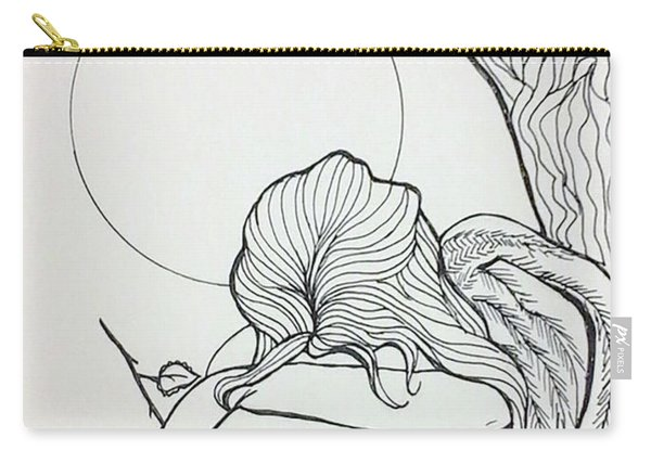 Carry-all Pouch featuring the drawing Stone Angel by Loretta Nash