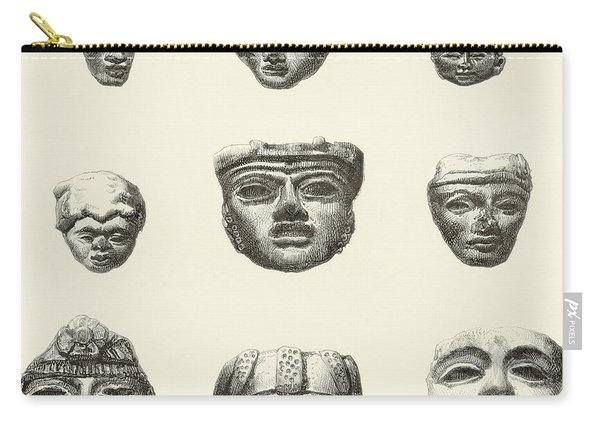 Stone Heads And Masks Found At Teotihuacan, Mexico Carry-all Pouch