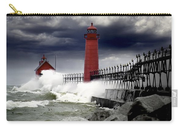 Storm At The Grand Haven Lighthouse Carry-all Pouch