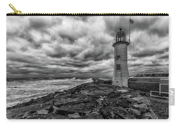 Storm Clouds Over Old Scituate Lighthouse In Black And White Carry-all Pouch