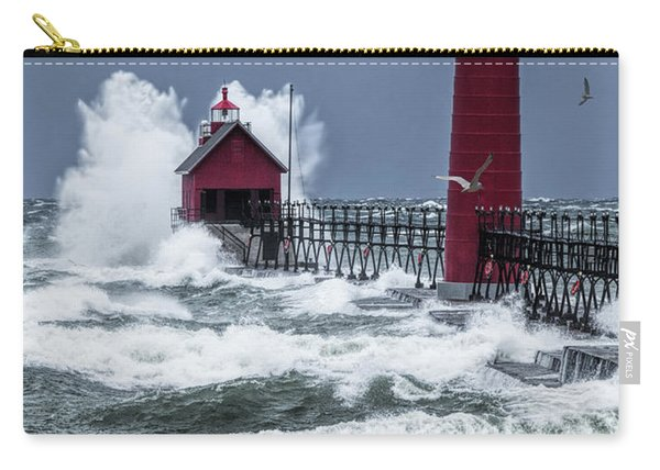 Storm On Lake Michigan By The Grand Haven Lighthouse With Flying Gulls Carry-all Pouch