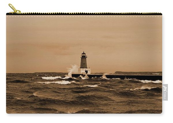 Storm Sandy Effects Menominee Lighthouse Sepia Carry-all Pouch