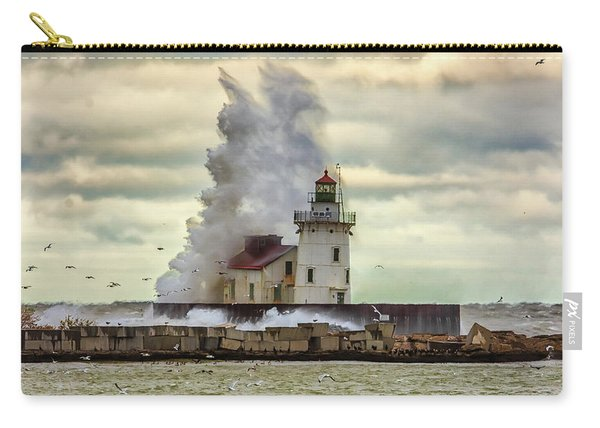 Storm Waves At The Cleveland Lighthouse Carry-all Pouch