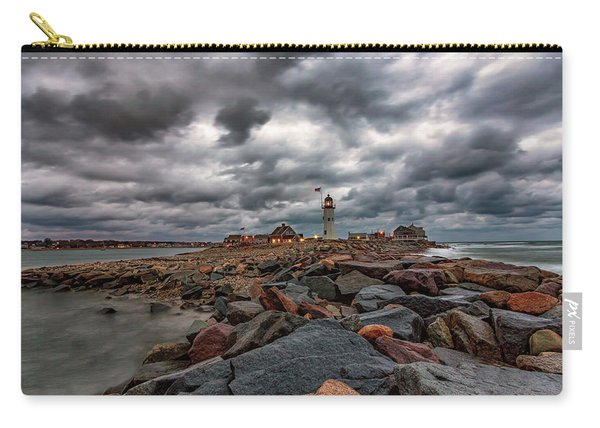 Stormy Sunrise Over Scituate Lighthouse Carry-all Pouch