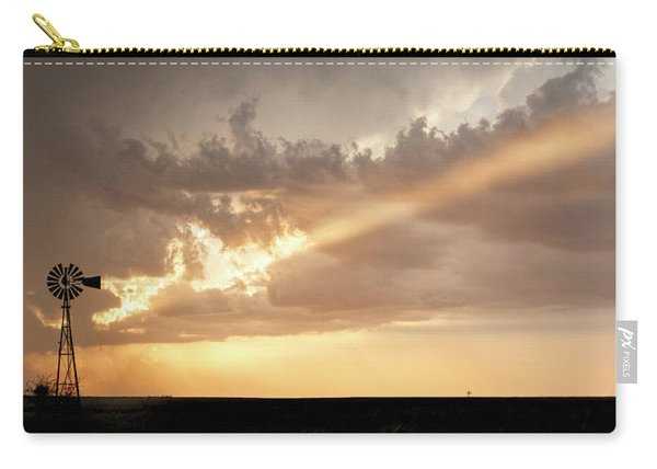 Carry-all Pouch featuring the photograph Stormy Sunset And Windmill 01 by Rob Graham