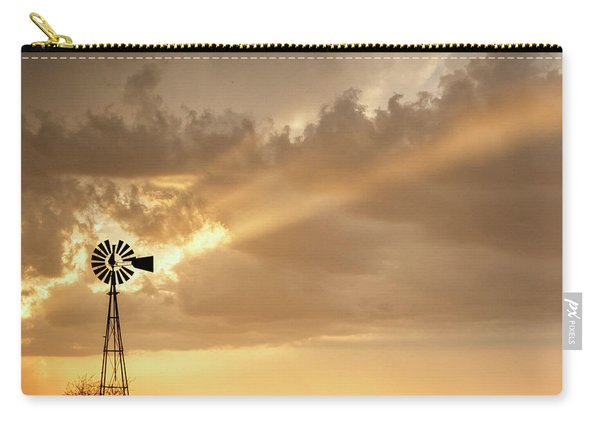 Carry-all Pouch featuring the photograph Stormy Sunset And Windmill 02 by Rob Graham