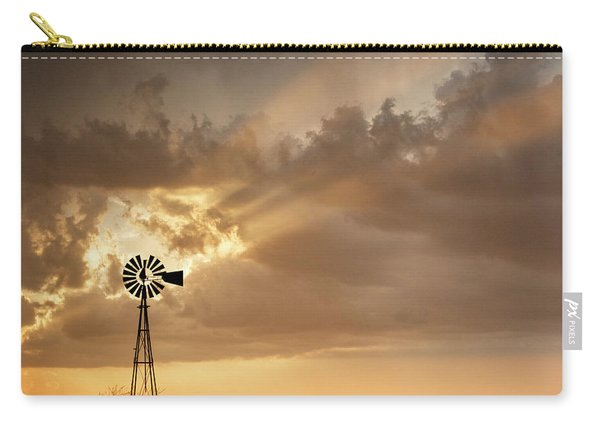 Carry-all Pouch featuring the photograph Stormy Sunset And Windmill 03 by Rob Graham