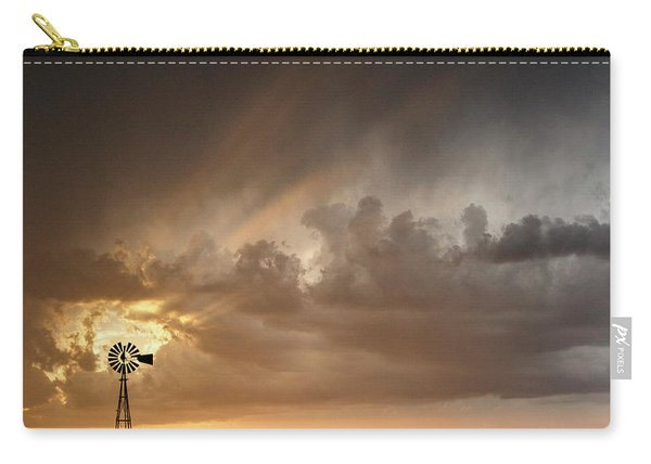 Carry-all Pouch featuring the photograph Stormy Sunset And Windmill 06 by Rob Graham