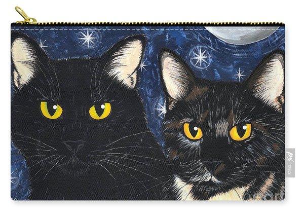 Strangeling's Felines - Black Cat Tortie Cat Carry-all Pouch