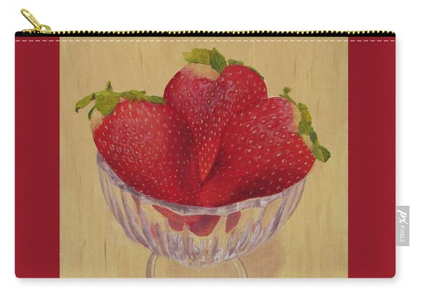 Carry-all Pouch featuring the painting Strawberries In Crystal Dish by Nancy Nale