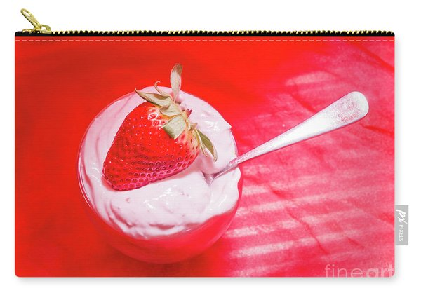 Strawberry Yogurt In Round Bowl With Spoon Carry-all Pouch