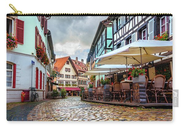 Carry-all Pouch featuring the photograph Street Cafe After The Rain by Dmytro Korol