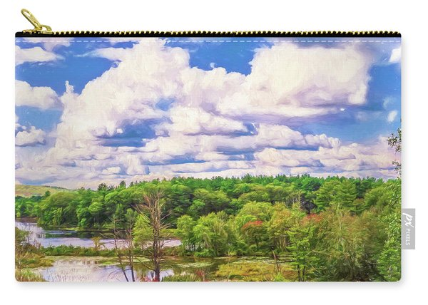 Striking Clouds Above Small Water Inlet And Green Trees Carry-all Pouch