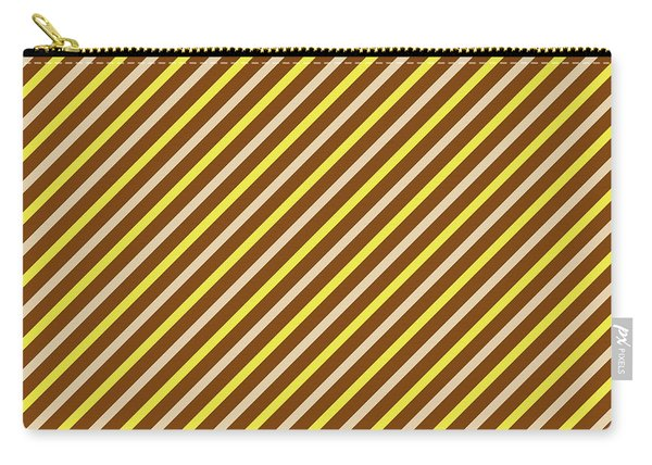 Stripes Diagonal Chocolate Banana Yellow Toffee Cream Carry-all Pouch